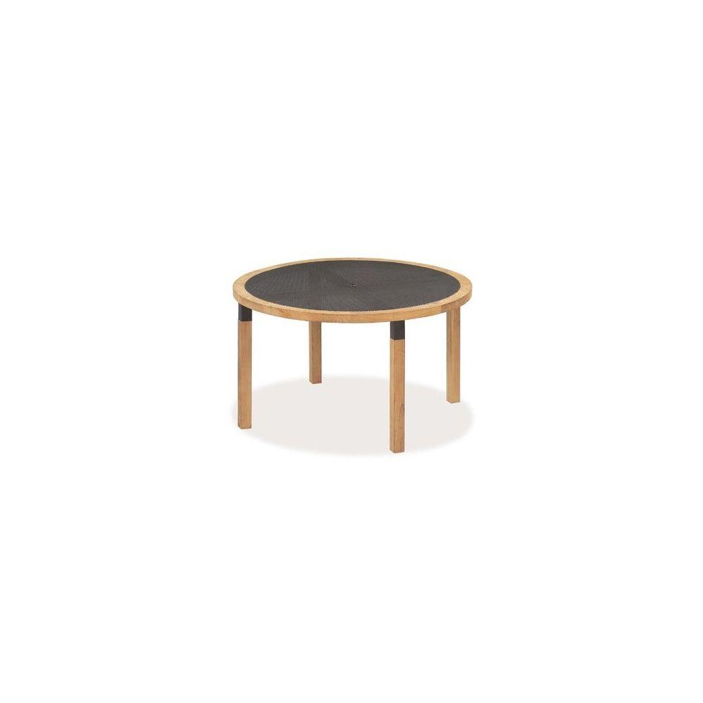 Table de jardin ronde Cetra D 130 cm en teck et acier vernis - EMU