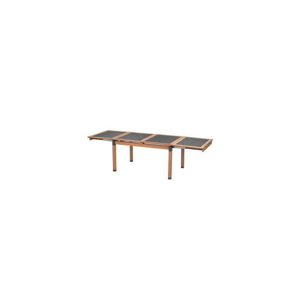 Table de jardin extensible Cetra 140 + 130 x 90 x 75 cm en teck et acier  vernis - EMU