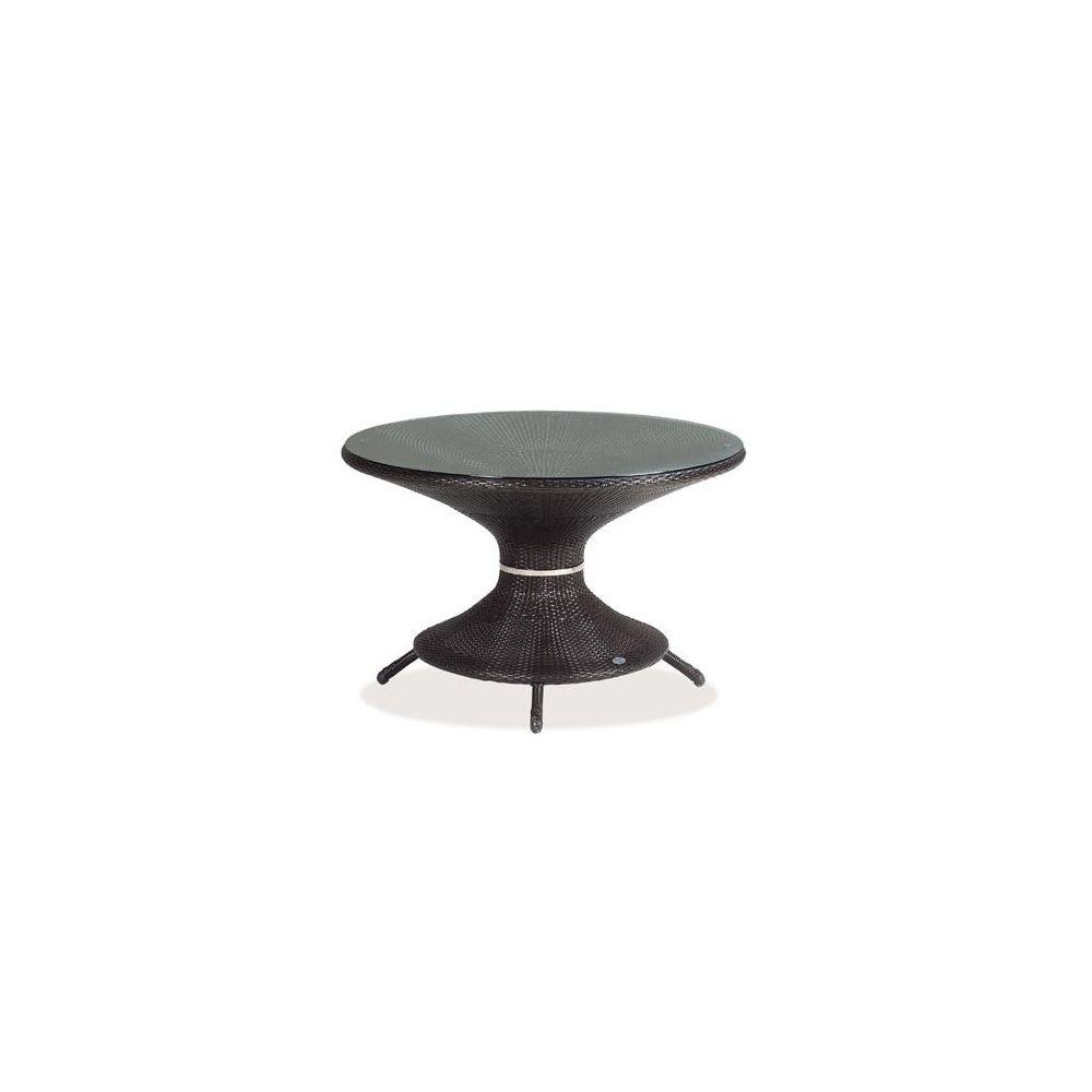 Table de jardin ronde Nilo D 120 cm en aluminium et wicker + plateau en  verre - coloris marron - EMU