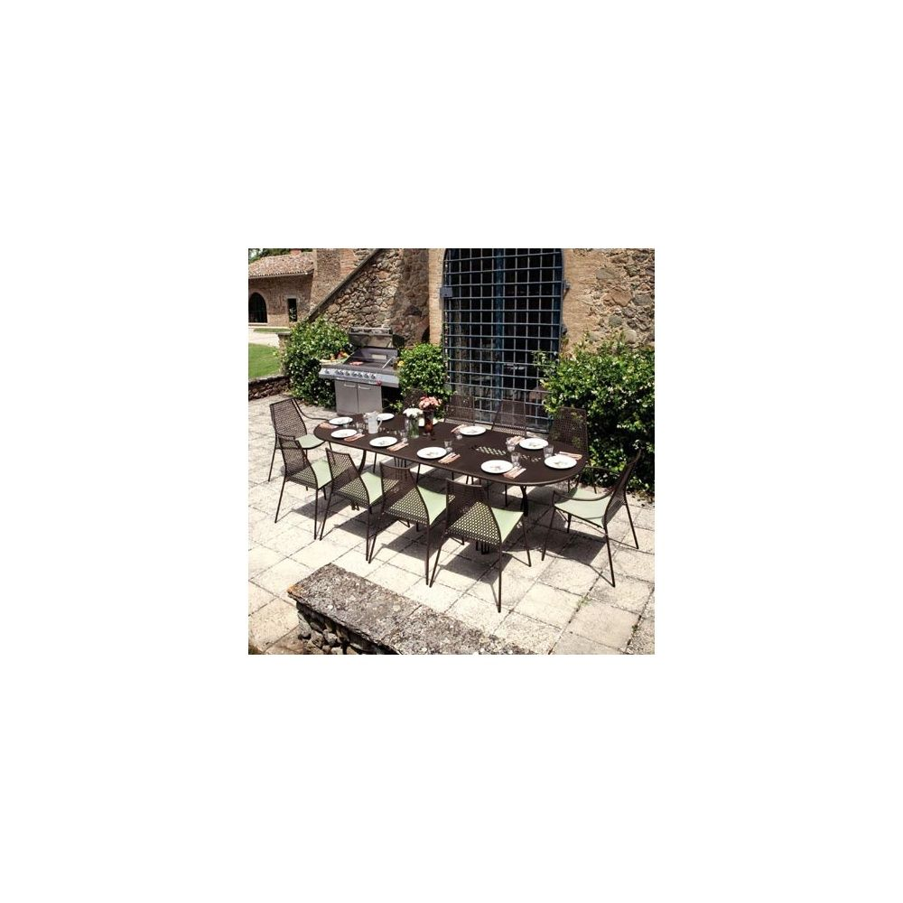 Table de jardin Vera ovale extensible 230 + 70 x 100 x 75 cm en acier  vernis - EMU