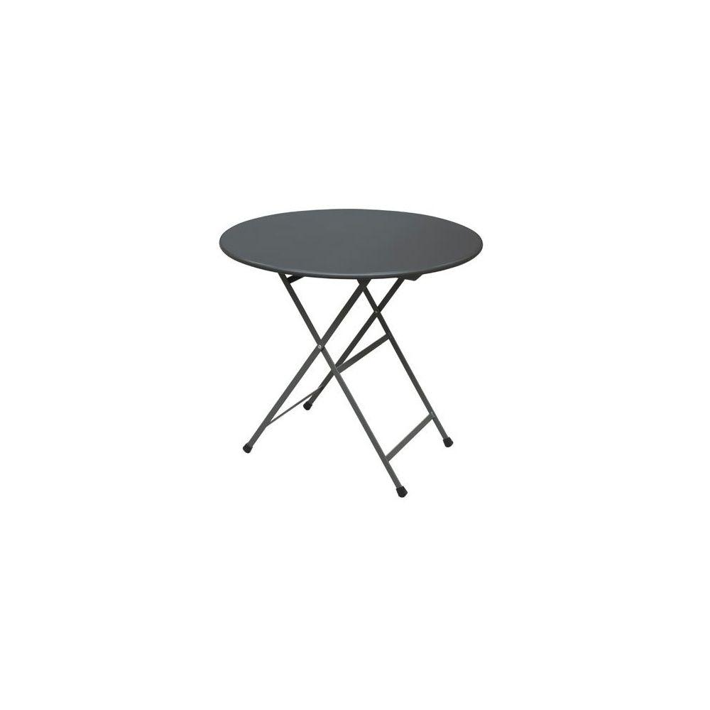 Table ronde de jardin pliable Arc en Ciel D 80 cm en acier vernis - fer  ancien - EMU