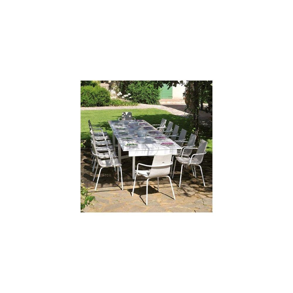 Salon de jardin 4 places: 1 table extensible en acier + 4 fauteuils en  acier et wicker - blanc - EMU