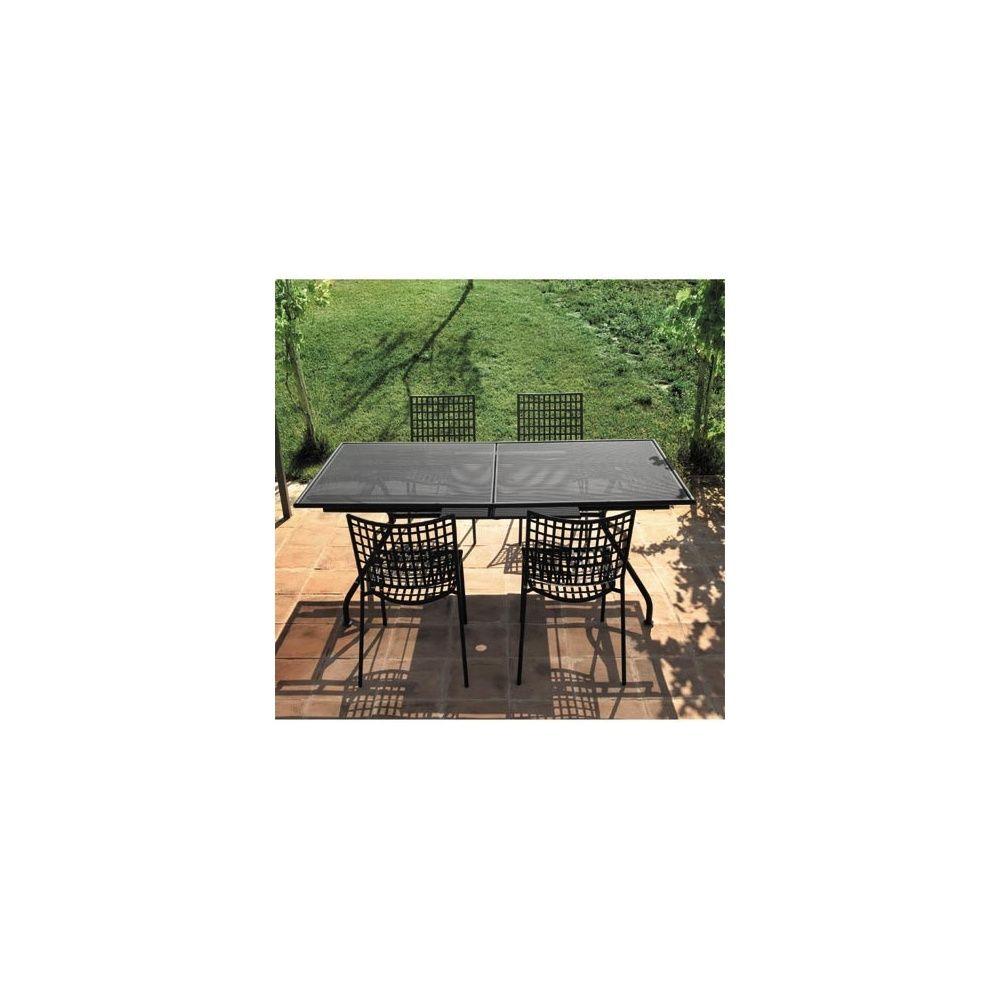 Salon de jardin 4 places en acier: 1 table extensible Piano + 4 chaises  Veranda - EMU