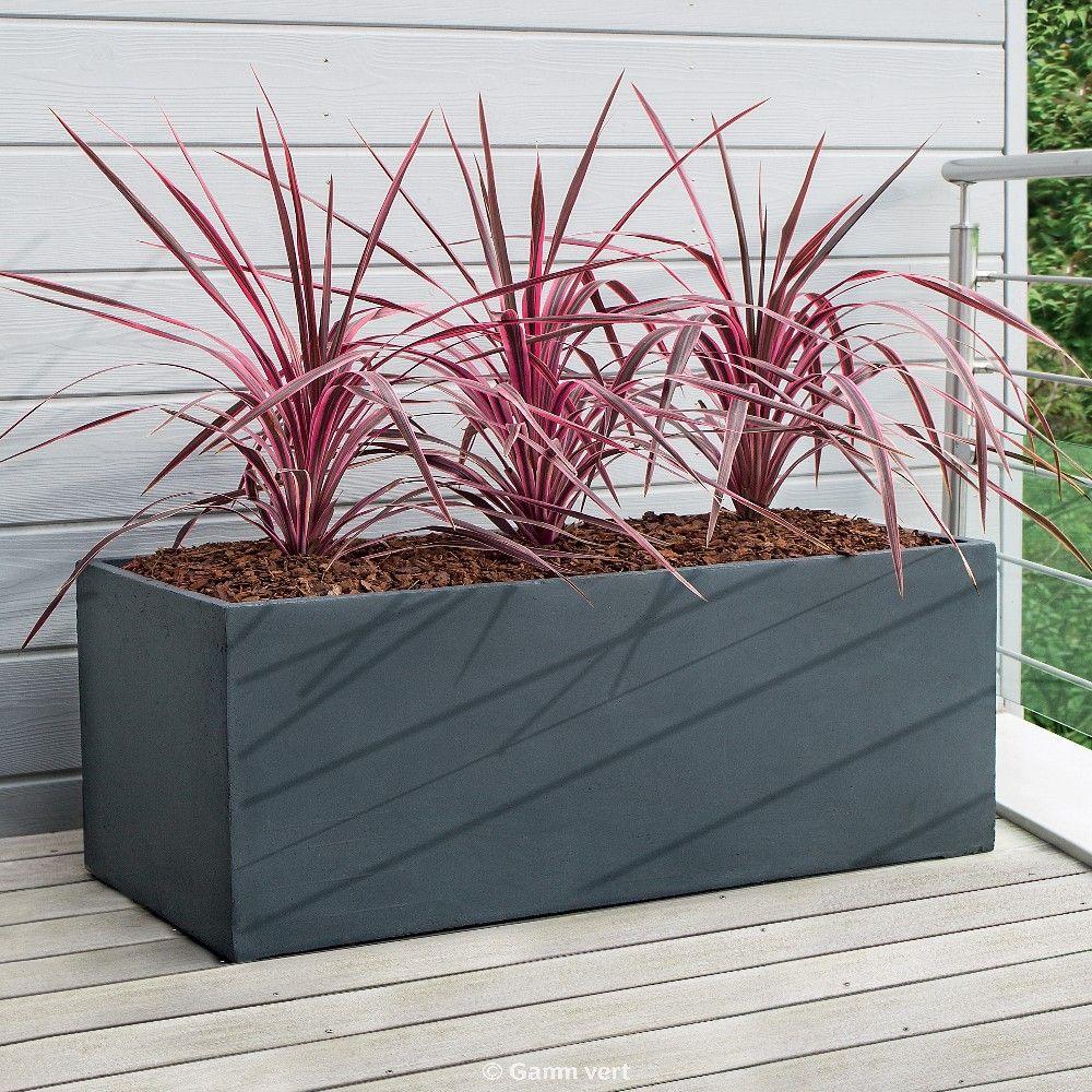 Bac Pour Arbuste De Jardin bac à fleurs fibre de terre clayfibre l100 h45 cm anthracite