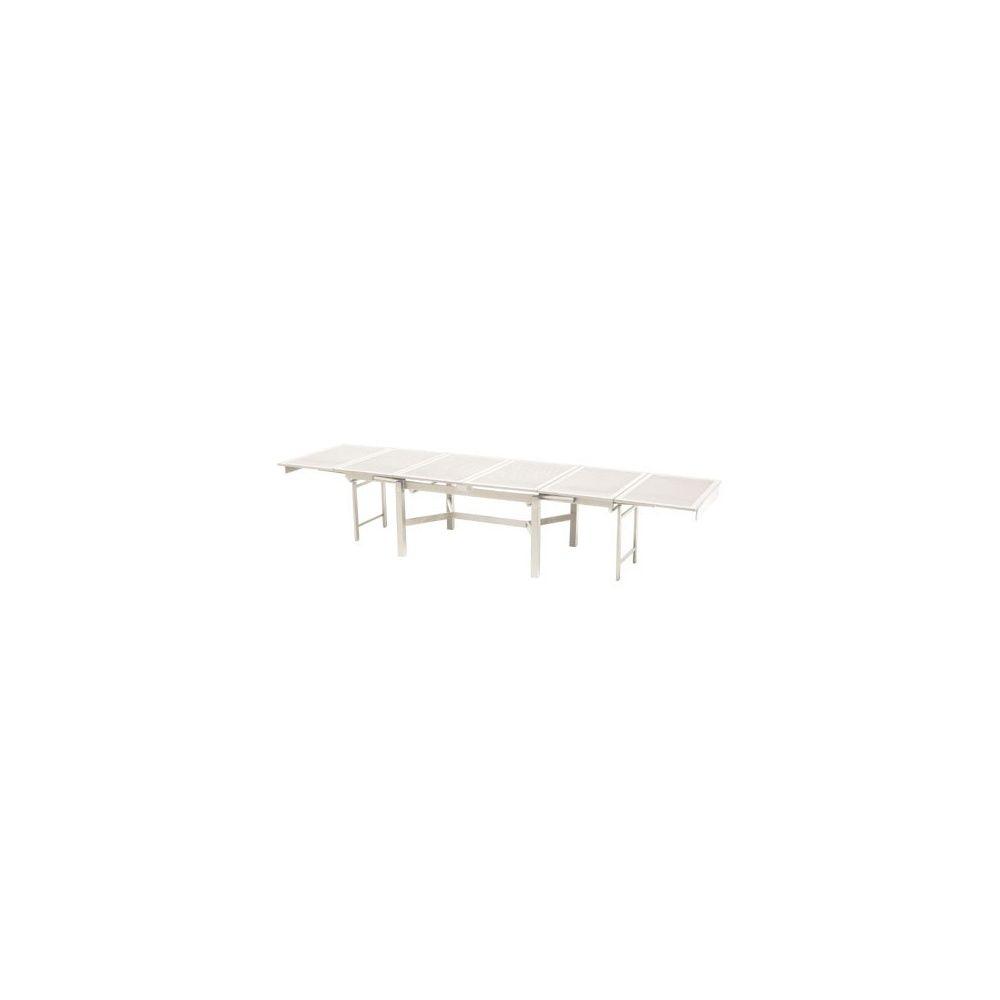 Table de jardin extensible en acier 140 + 260 x 110 x 78 cm - coloris blanc  - EMU