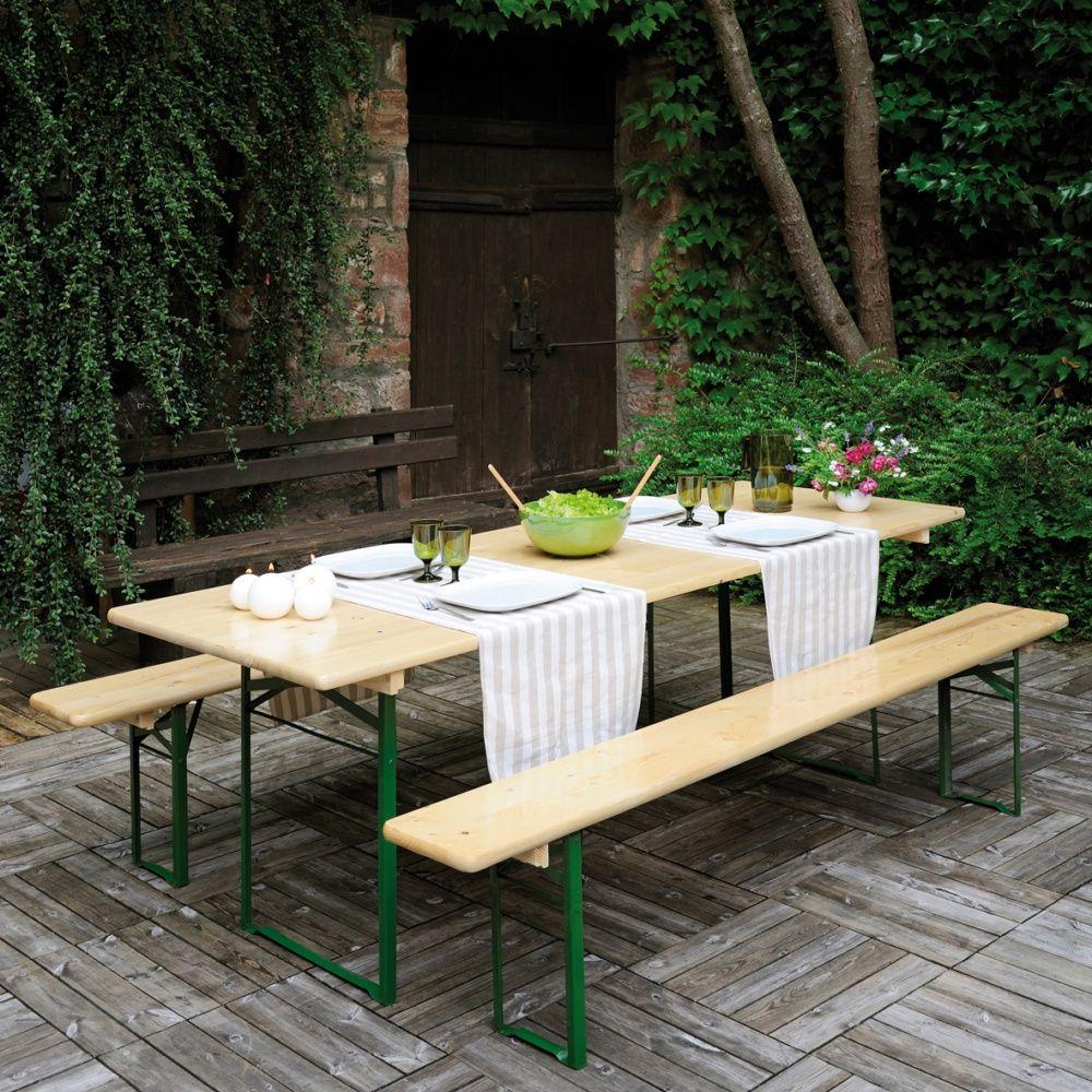 Table de pique-nique pliante Brasseurs bois vernis l220 L80 cm ...