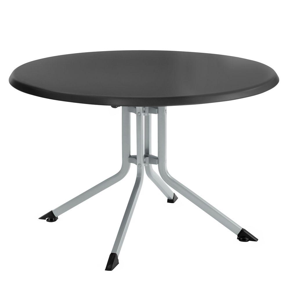 Table de jardin pliante résine Kettler Ø100 cm argent/anthracite