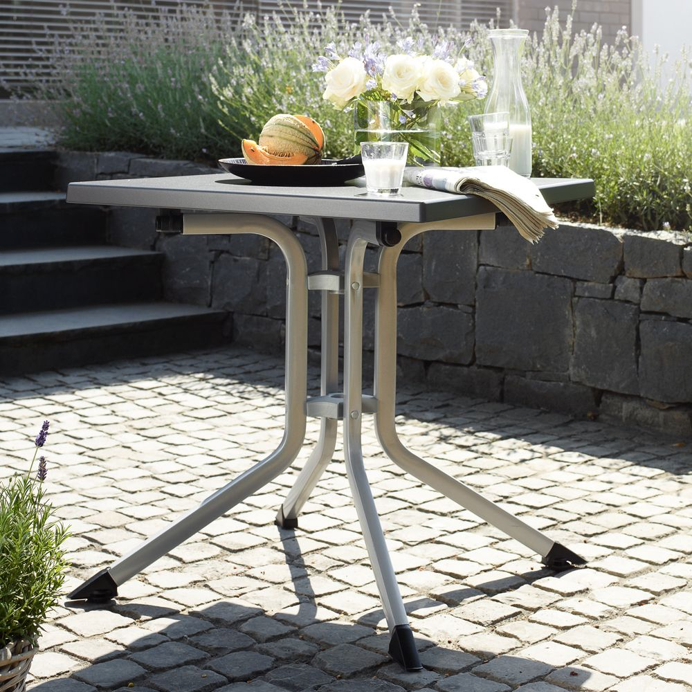 Table de jardin pliante résine Kettler L70 l70 cm argent/gris
