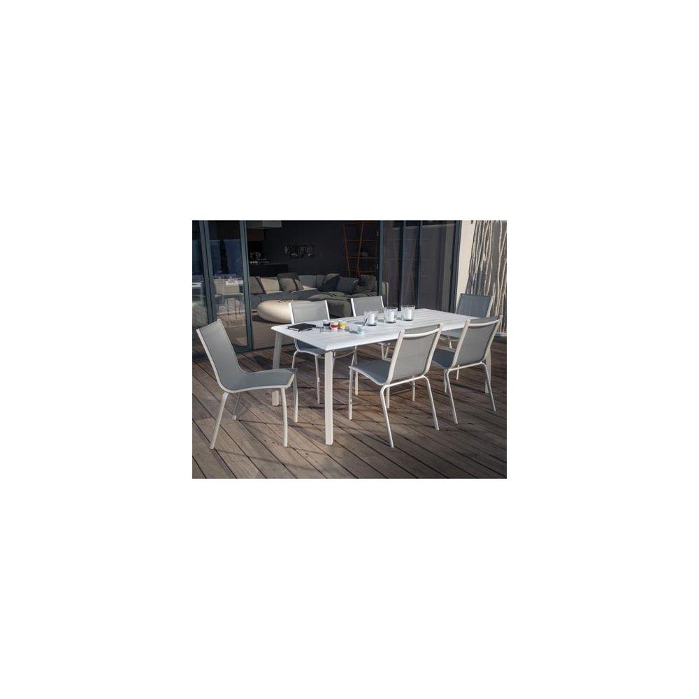 Salon 4 personnes : table Azuro 180 x 90 lin + 4 chaises Linea blanc/gris