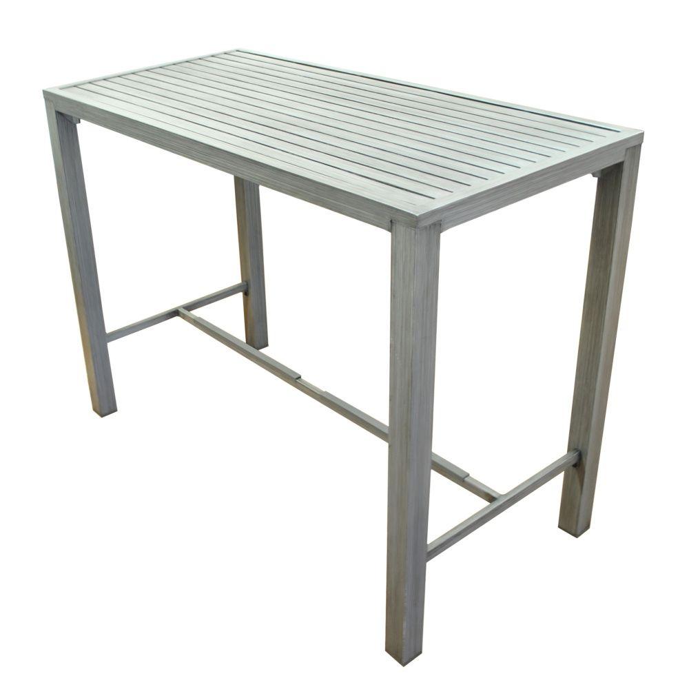 Table de jardin haute Milano aluminium H6 L6 l6 cm gris