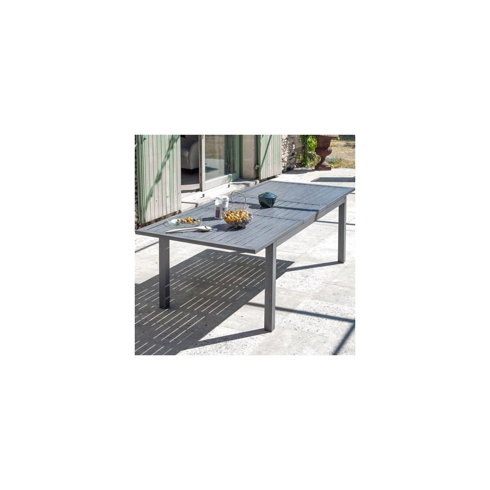 Table de jardin à allonge Milano aluminium l180/240 L100 cm ice