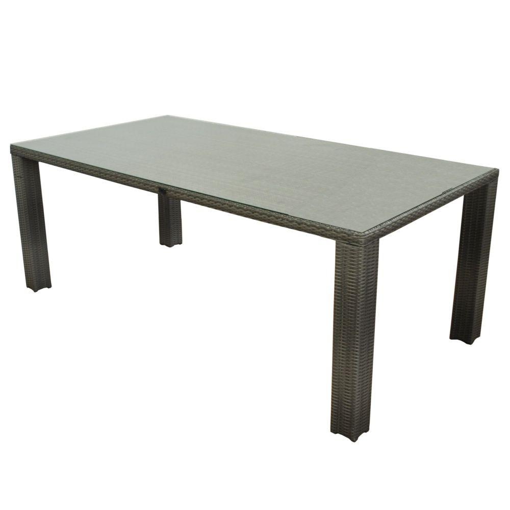 Salon de jardin : Table Faro l180 L100 cm + 4 chaises Manon résine tressée  gris