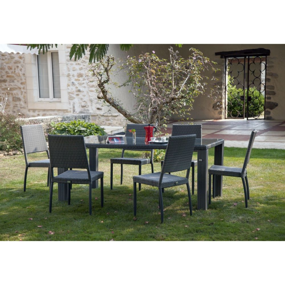 salon de jardin table faro l180 l100 cm 4 chaises manon resine tressee gris