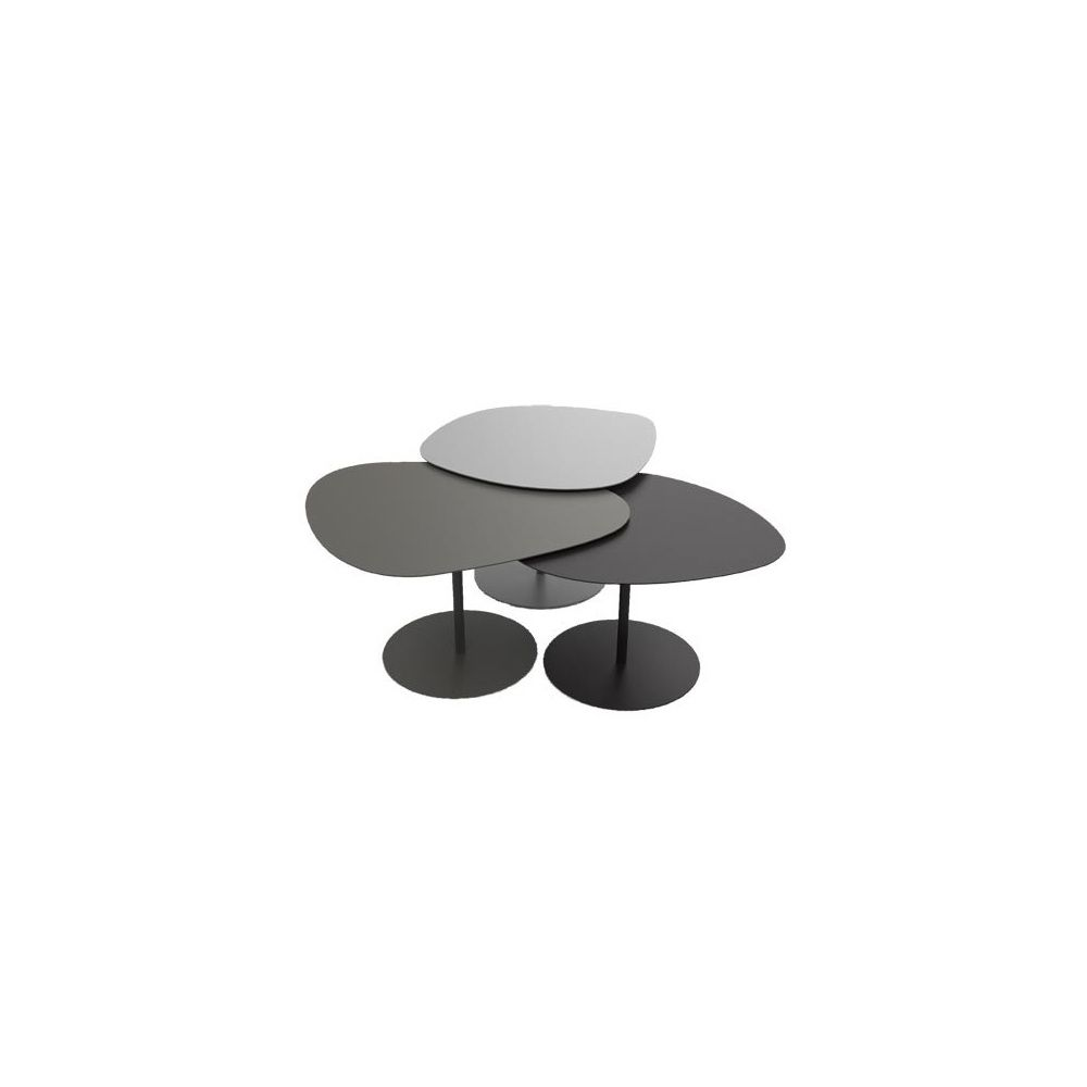 Table basse gigogne 3 Galets - Gris / Taupe / Noir