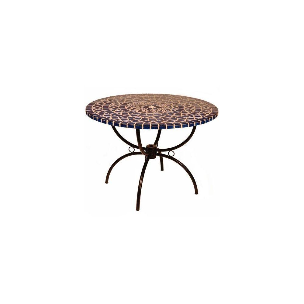 Table ronde à mosaique bleue - Ø 110 cm