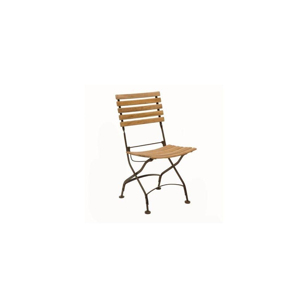 Chaise Fer Forgé Et Bois chaise pliante en fer forgé et teck fsc - lot de 2