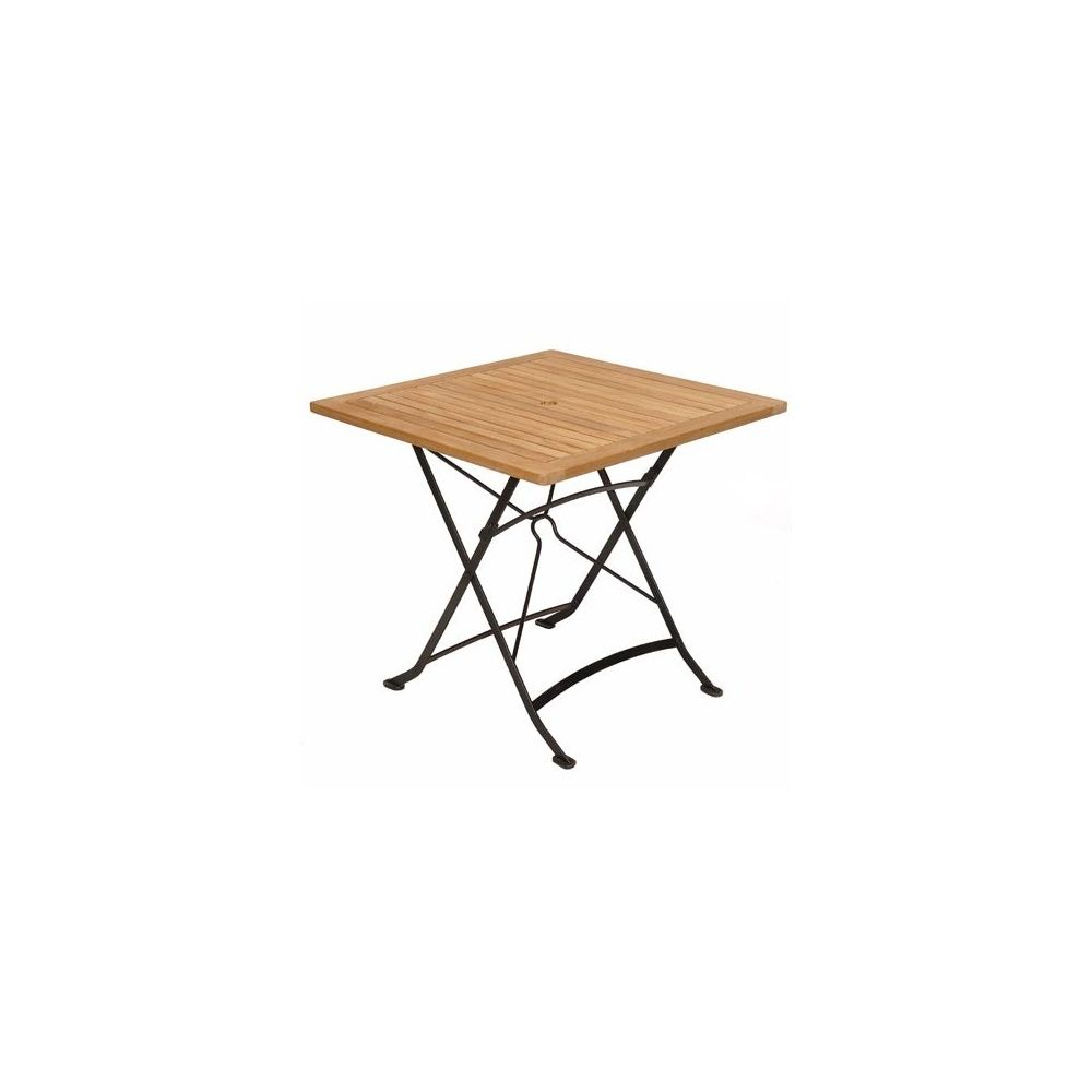 Table pliante carrée en fer forgé et teck FSC - 80 x 80 cm