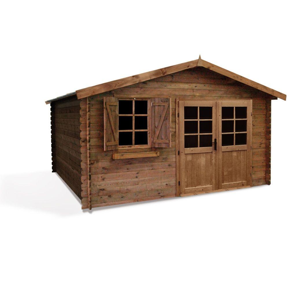 Abri de jardin bois traité autoclave Zahora 17,39 m² Ep. 28 mm