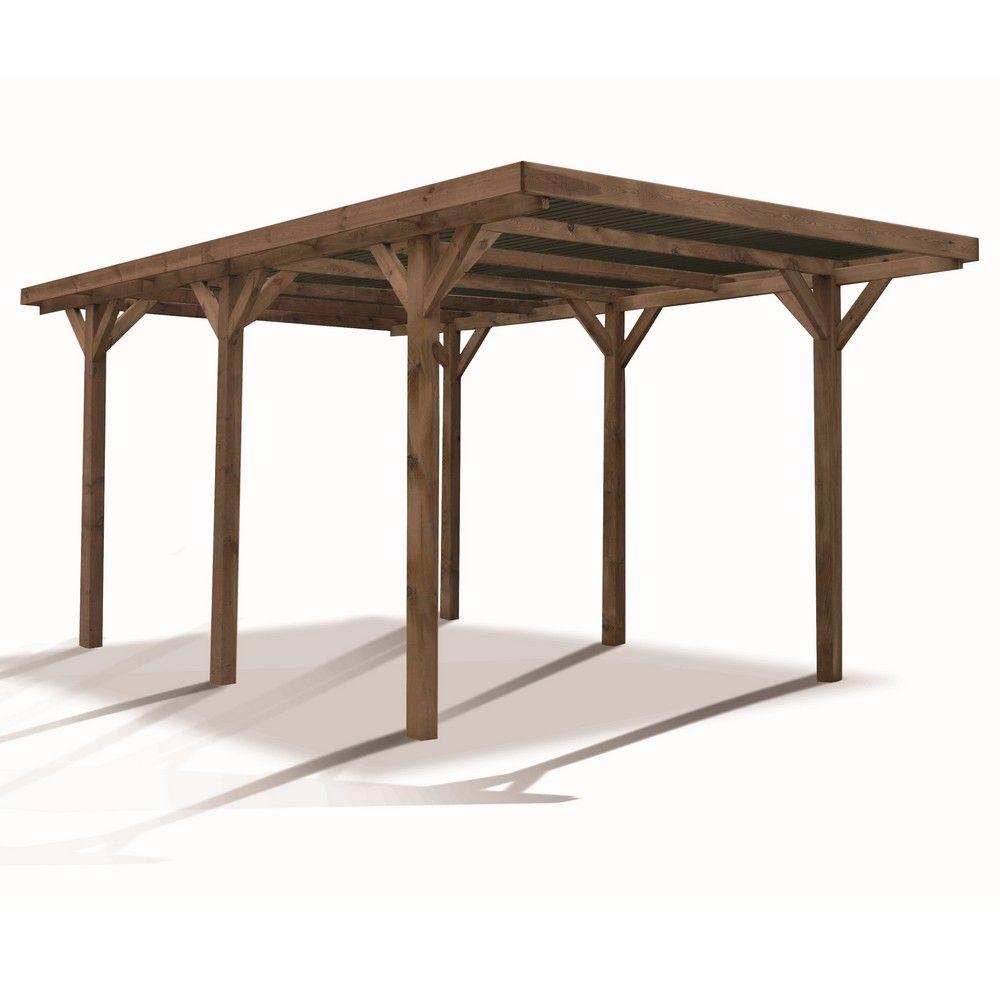 Carport bois traité autoclave Madeira Enzo : 1 voiture - 15,72 m²