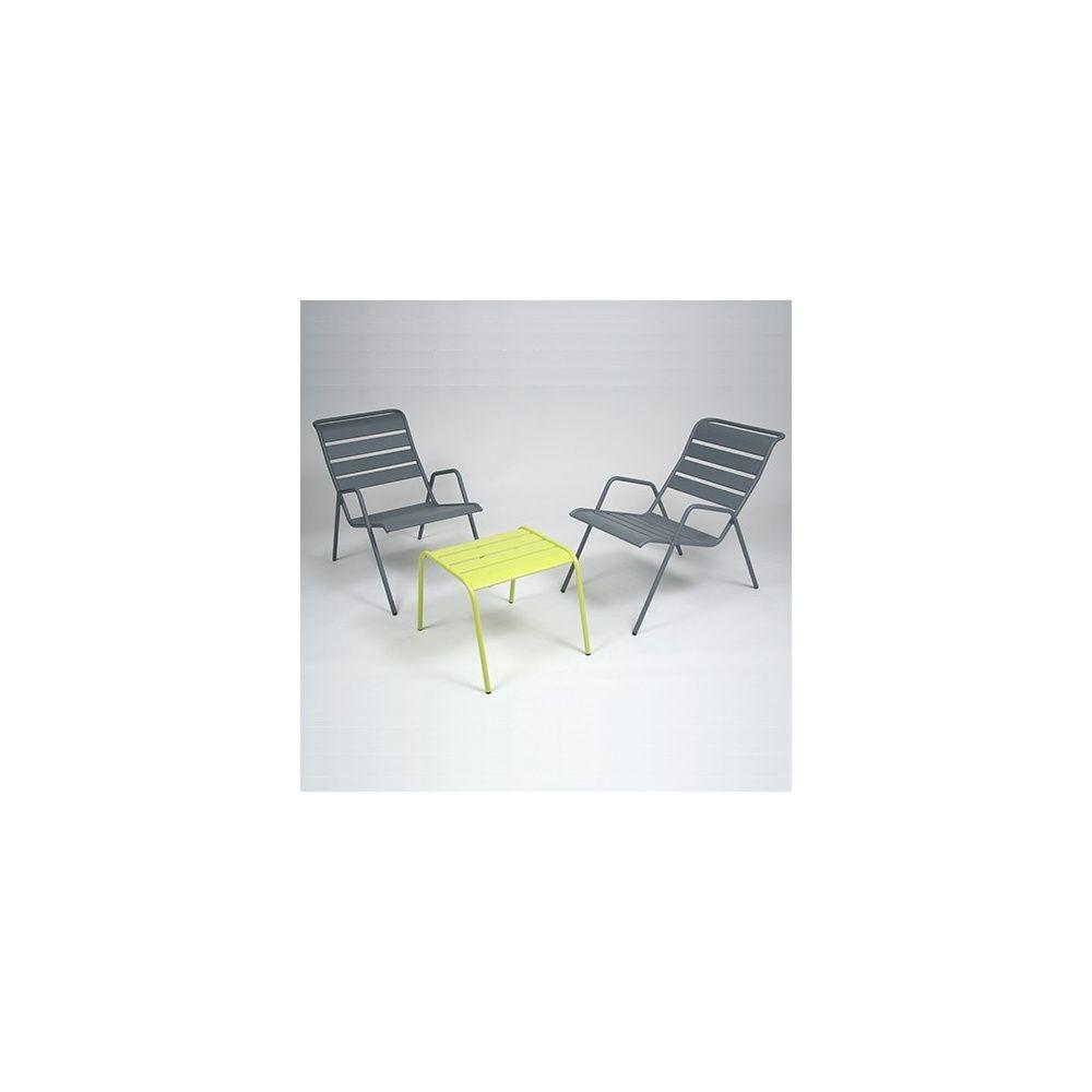 Salon de jardin Fermob Monceau : 1 table basse + 2 fauteuils 93 x 55 ...
