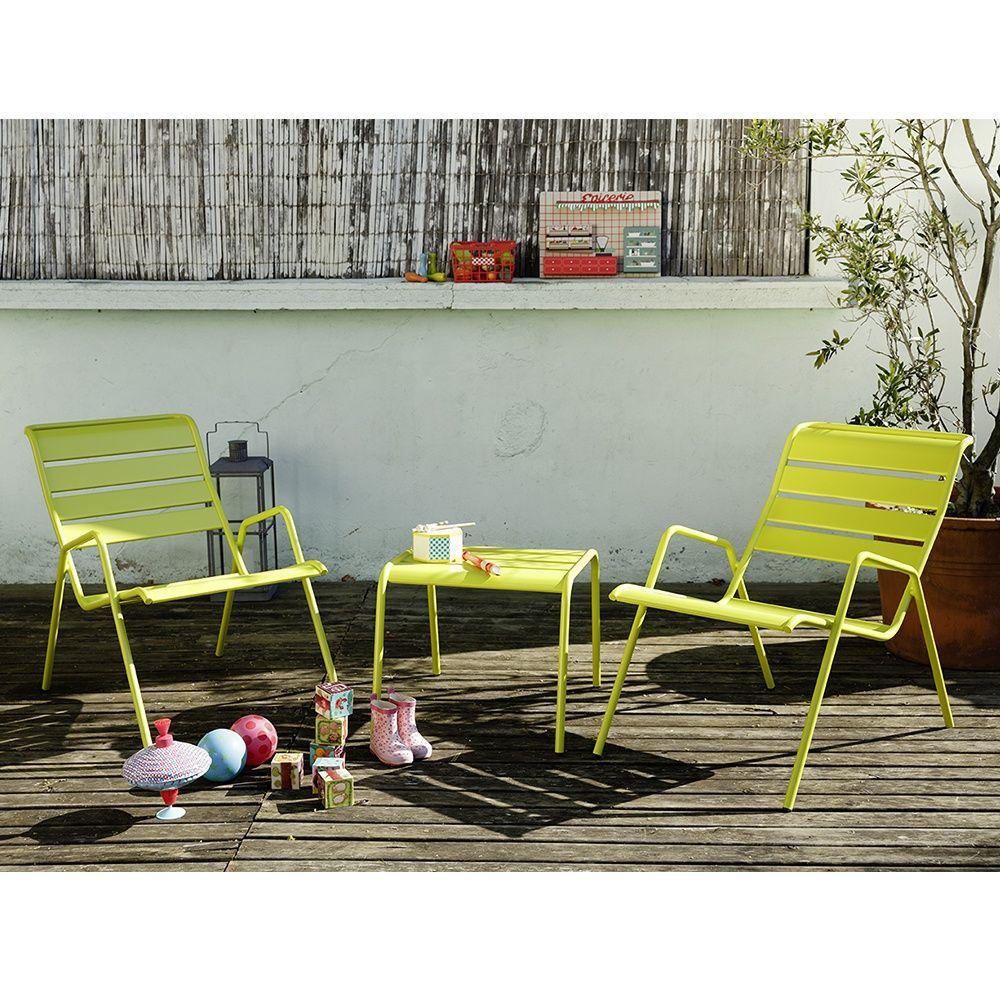Salon de jardin Fermob Monceau : table basse + 2 fauteuils