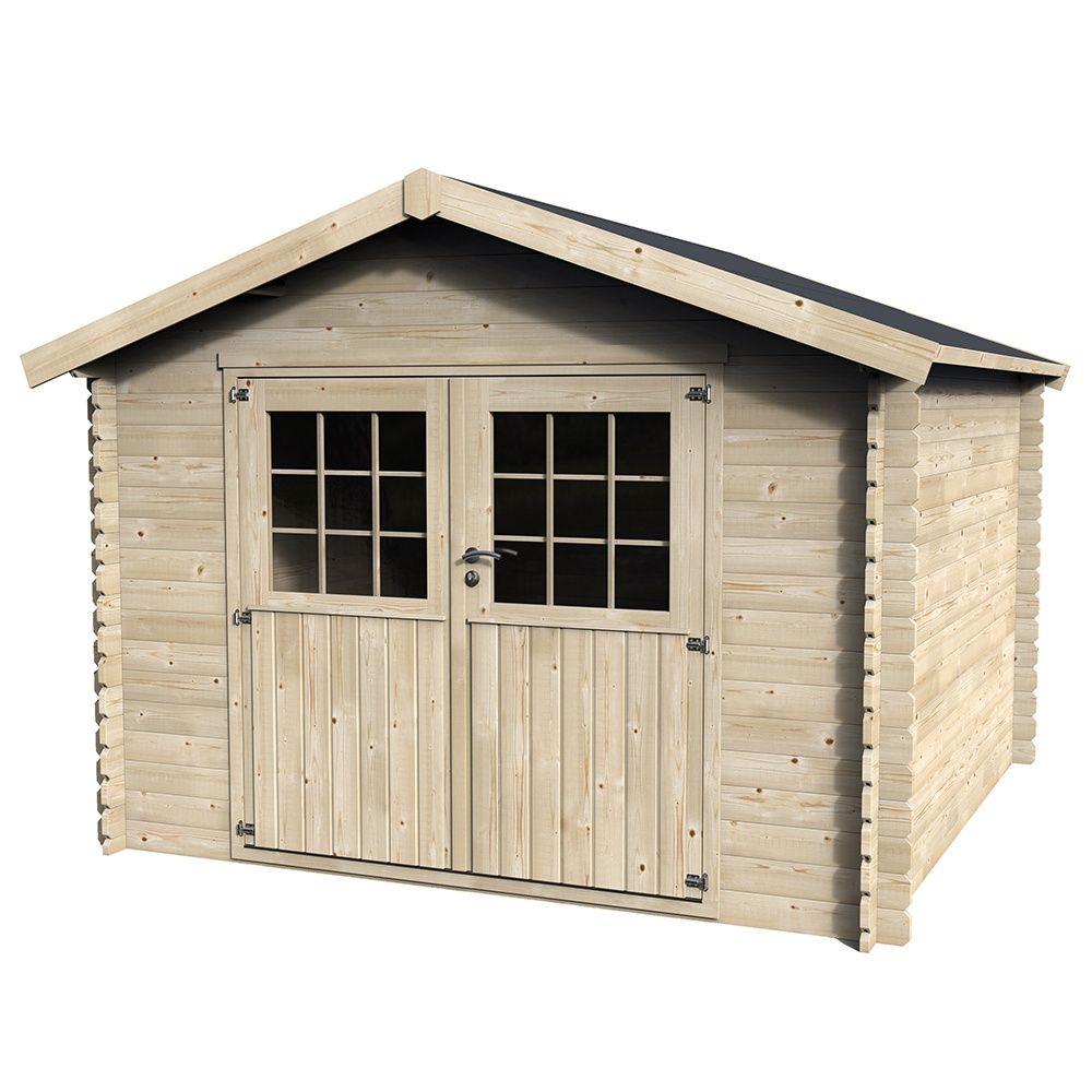 Abri de jardin en bois 9,99 m² Ep. 28 mm Flover 1 palette L 312 x l ...