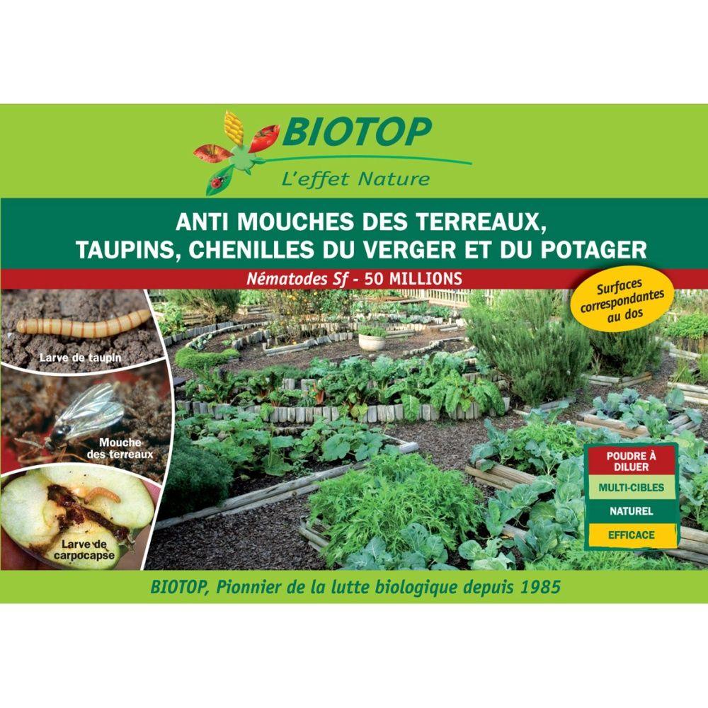 Nématode Sf contre chenilles du verger, mouche du terreau et les taupins - Biotop