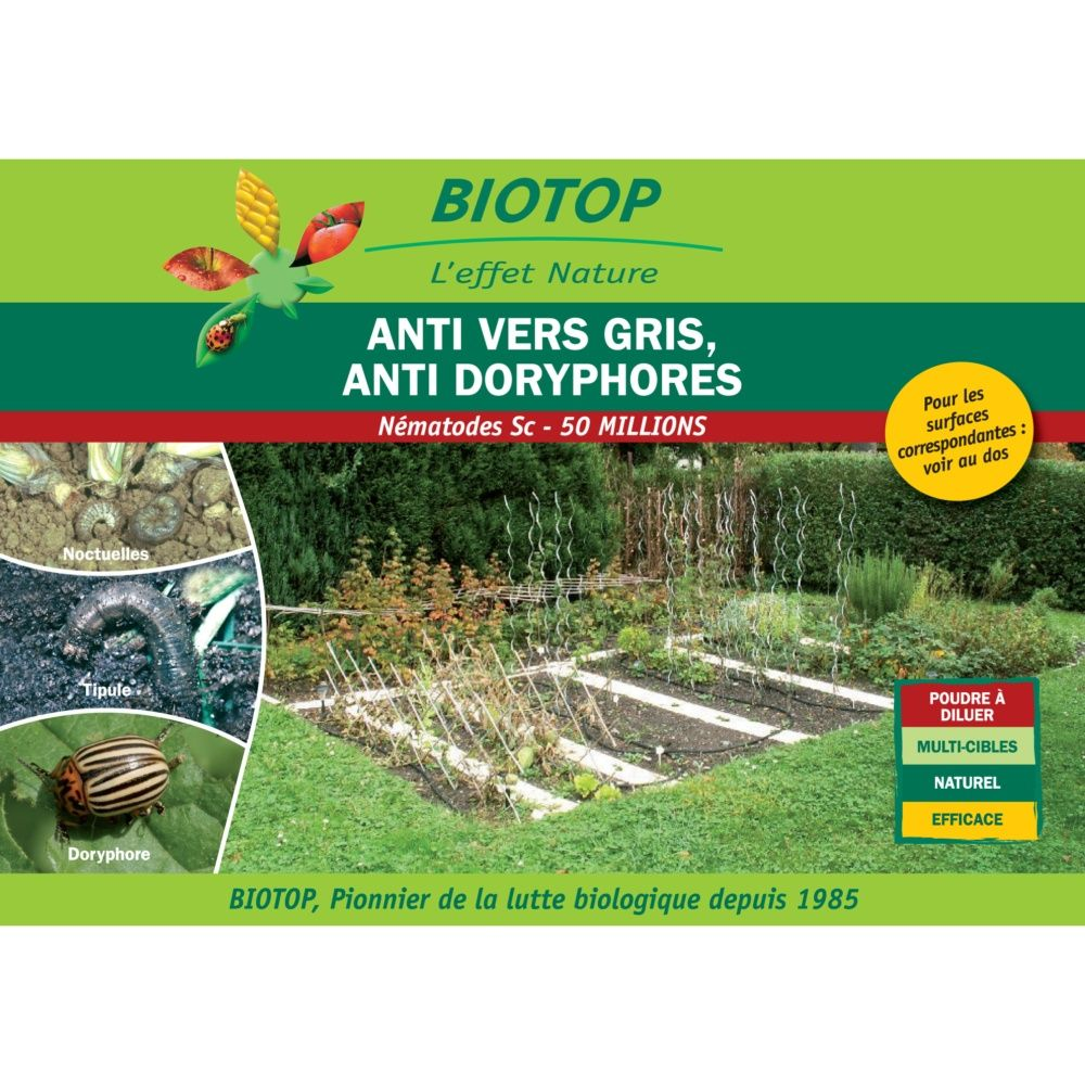 Nématodes Sc (50 millions) contre vers gris (noctuelles, tipules, courtilières) - Biotop