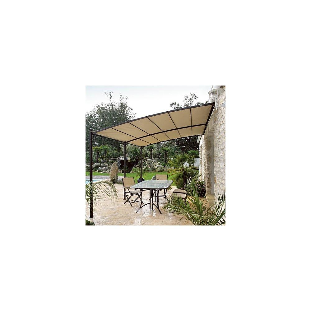 Tonnelle de jardin adossée 3x4m en acier galvanisé Carton ...