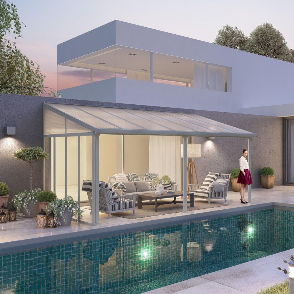 Pergola toit terrasse aluminium et polycarbonate 4x3 m blanc