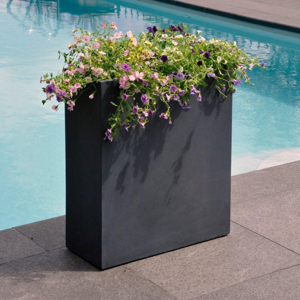 Bac Pour Arbuste De Jardin bac à fleurs fibre de terre clayfibre l80 h92 cm anthracite