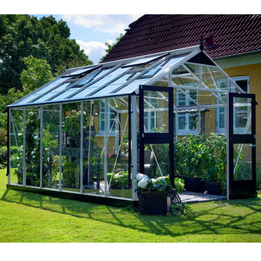 Serre en verre trempé Premium 13 m² aluminium + embase - Juliana