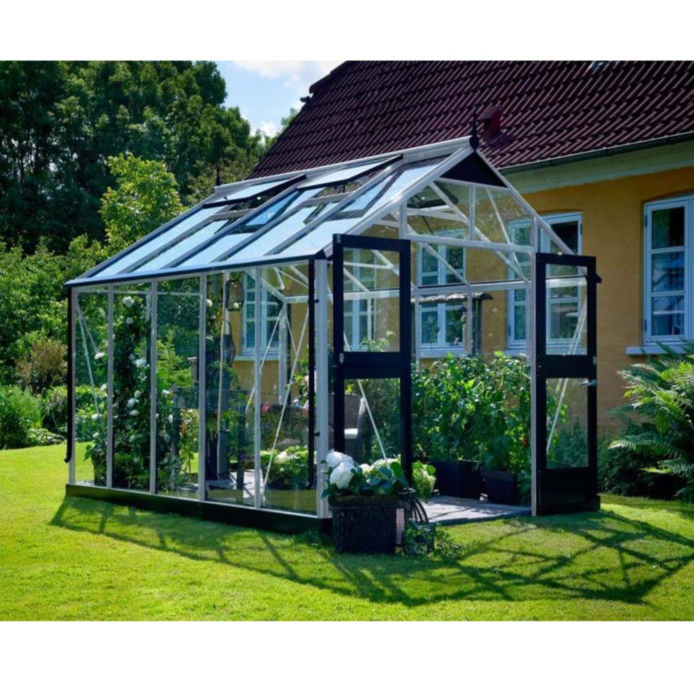 Serre en verre trempé Premium aluminium 10,90 m² + embase - Juliana