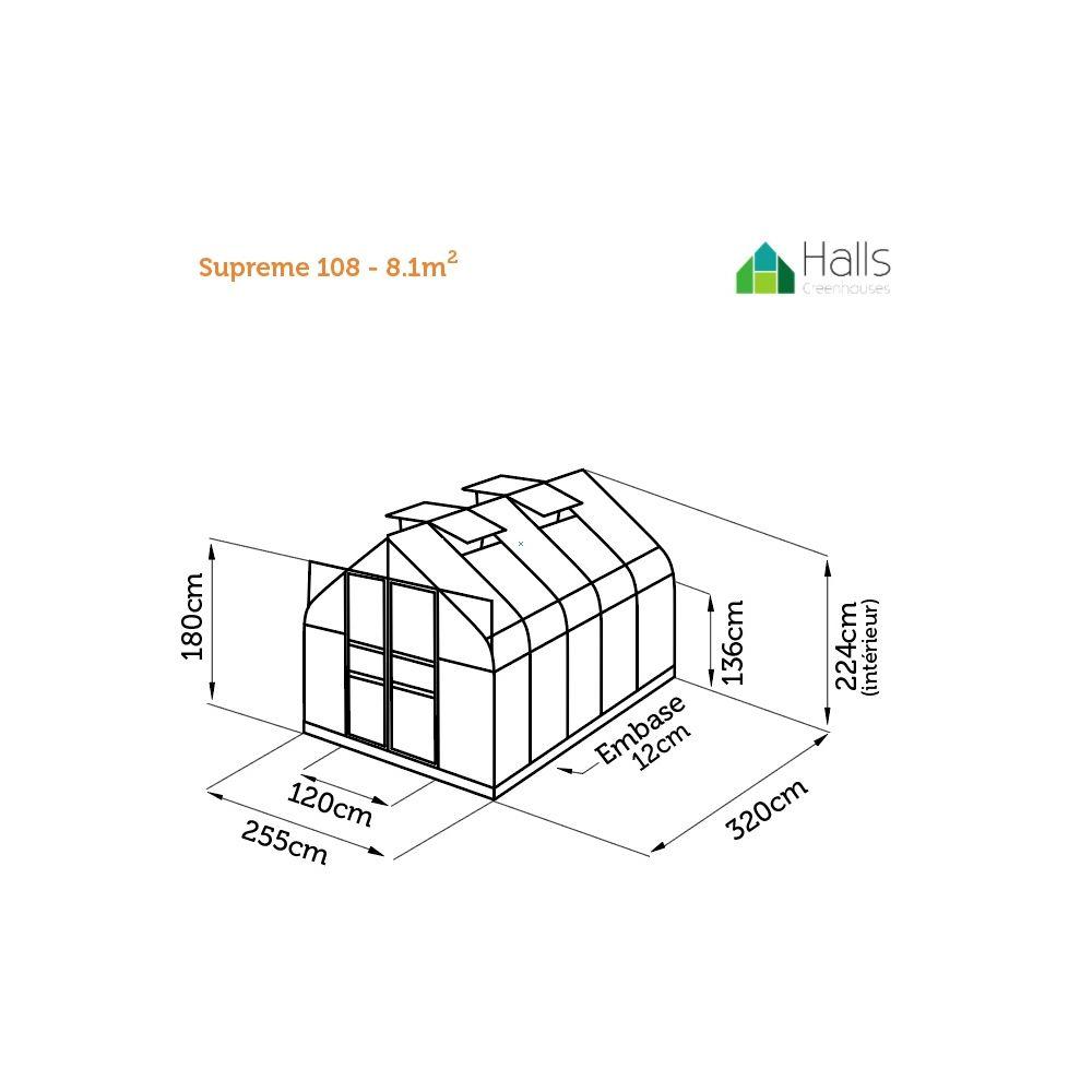 Serre de jardin Supreme verre trempé 8.1 m² - Halls