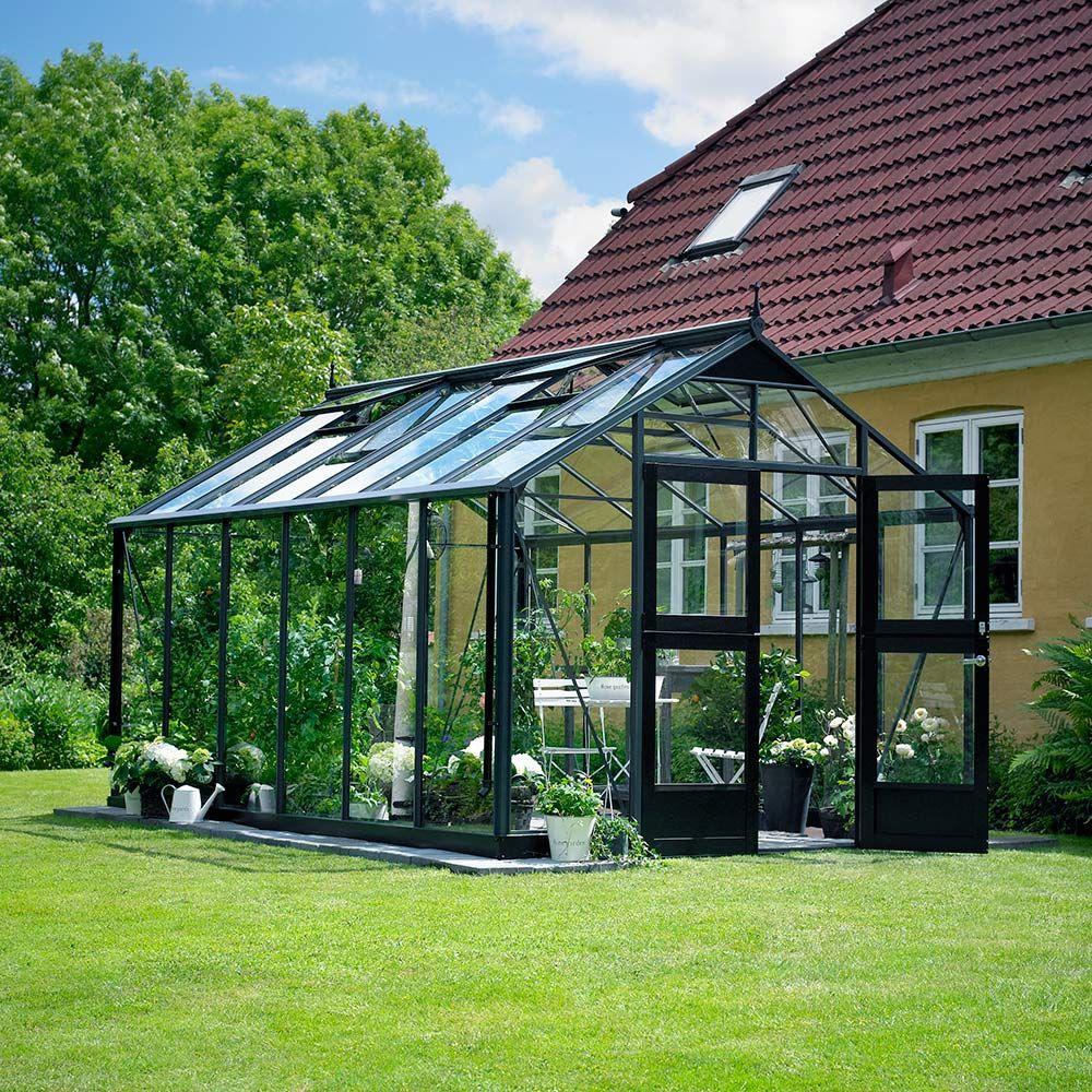 Serre en verre trempé Premium anthracite 13 m² + embase - Juliana