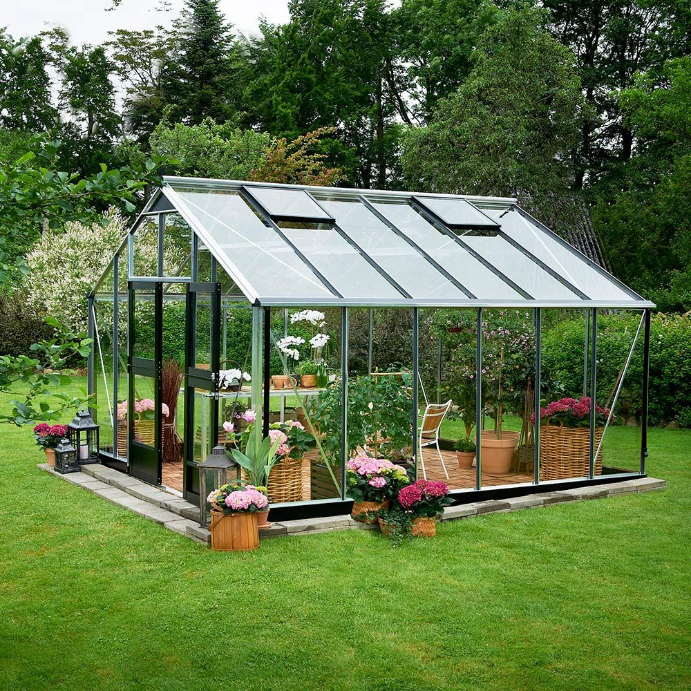 Serre en verre trempé Jardinier aluminium 16.20 m² + embase - Juliana