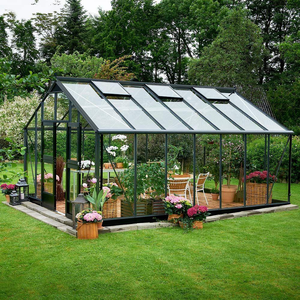Serre en verre trempé Jardinier 18.80 m² anthracite + embase - Juliana