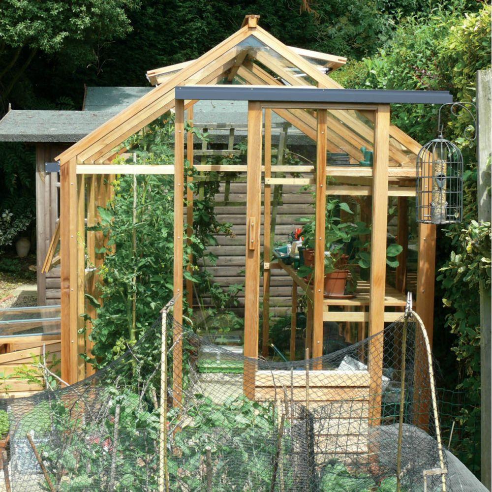 Serre de jardin en bois et verre trempé Classic 4.4m² hors tout Cèdre rouge  Juliana