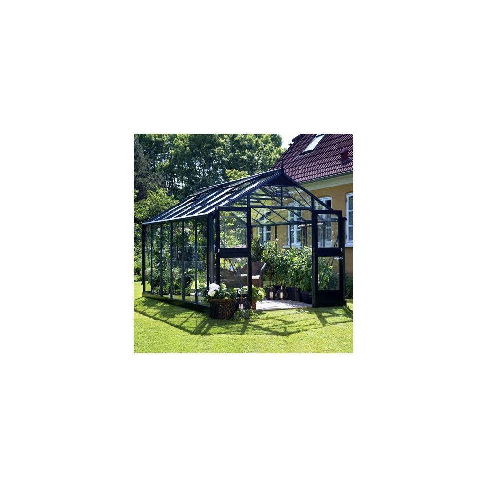 Serre de jardin - Serre en verre trempé Premium anthracite 8.80 m² + embase - Juliana - Serre de jardin GammVert