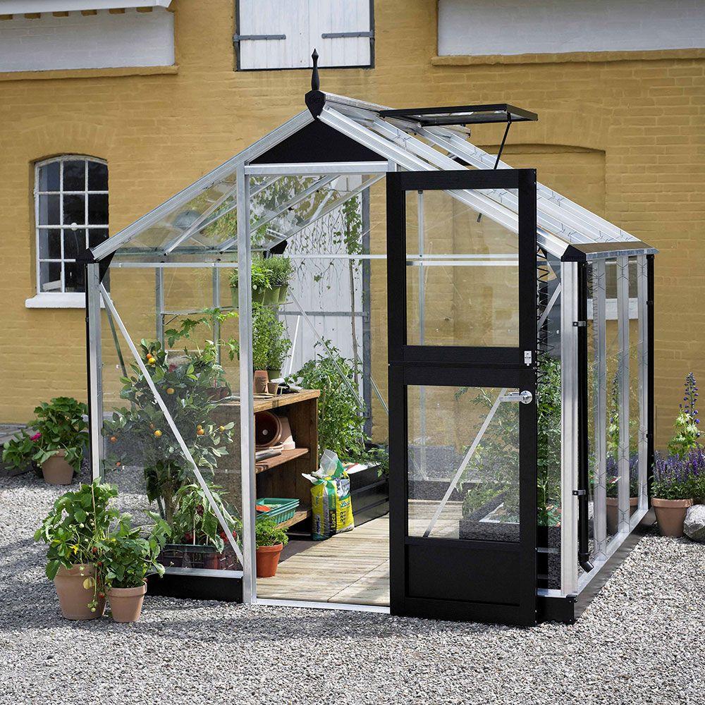 Serre de jardin - Serre en verre trempé Compact aluminium 5 m² + embase - Juliana - Serre de jardin GammVert