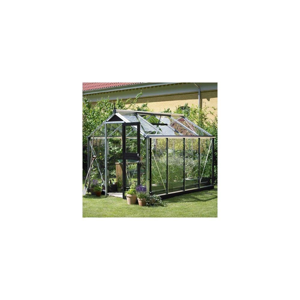 Serre de jardin - Serre en verre trempé Compact aluminium 6,6 m² + embase - Juliana - Serre de jardin GammVert