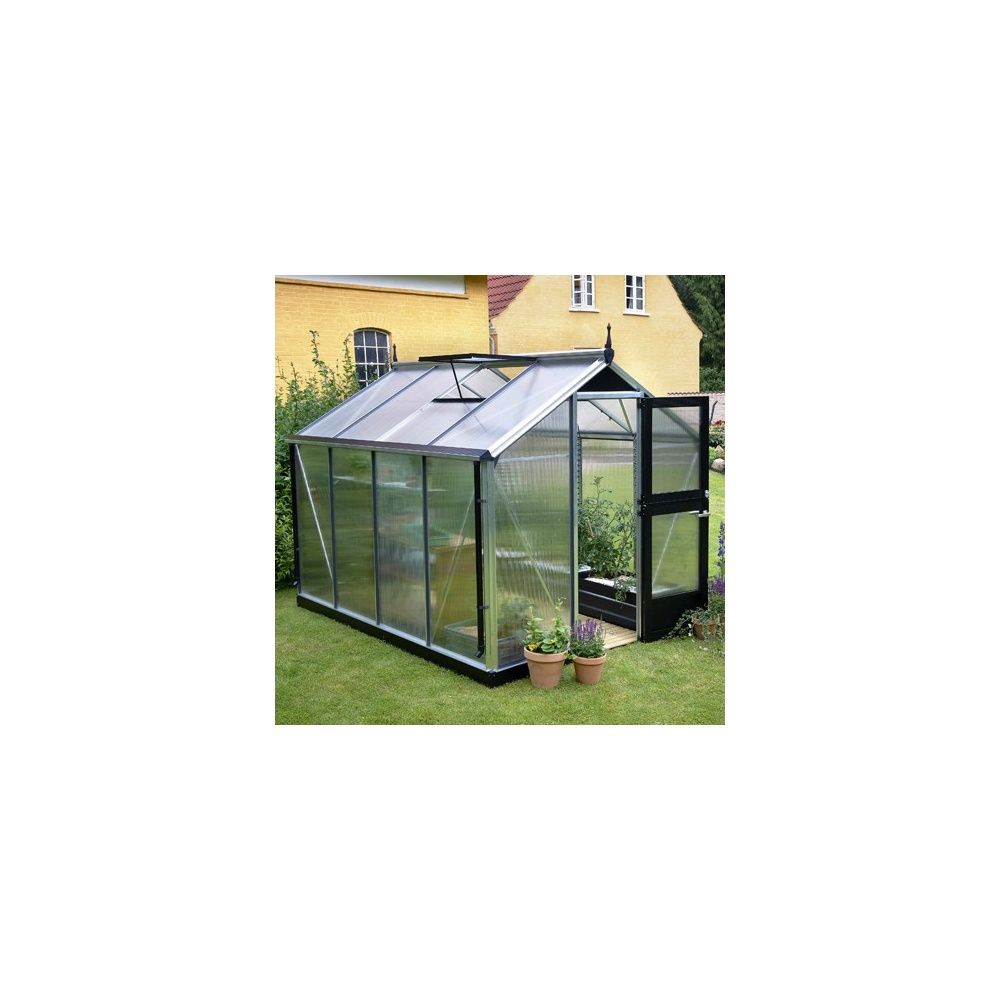 Serre Compact 6,6 m² hors tout aluminium noir + 10 mm polycarbonate + embase - Juliana