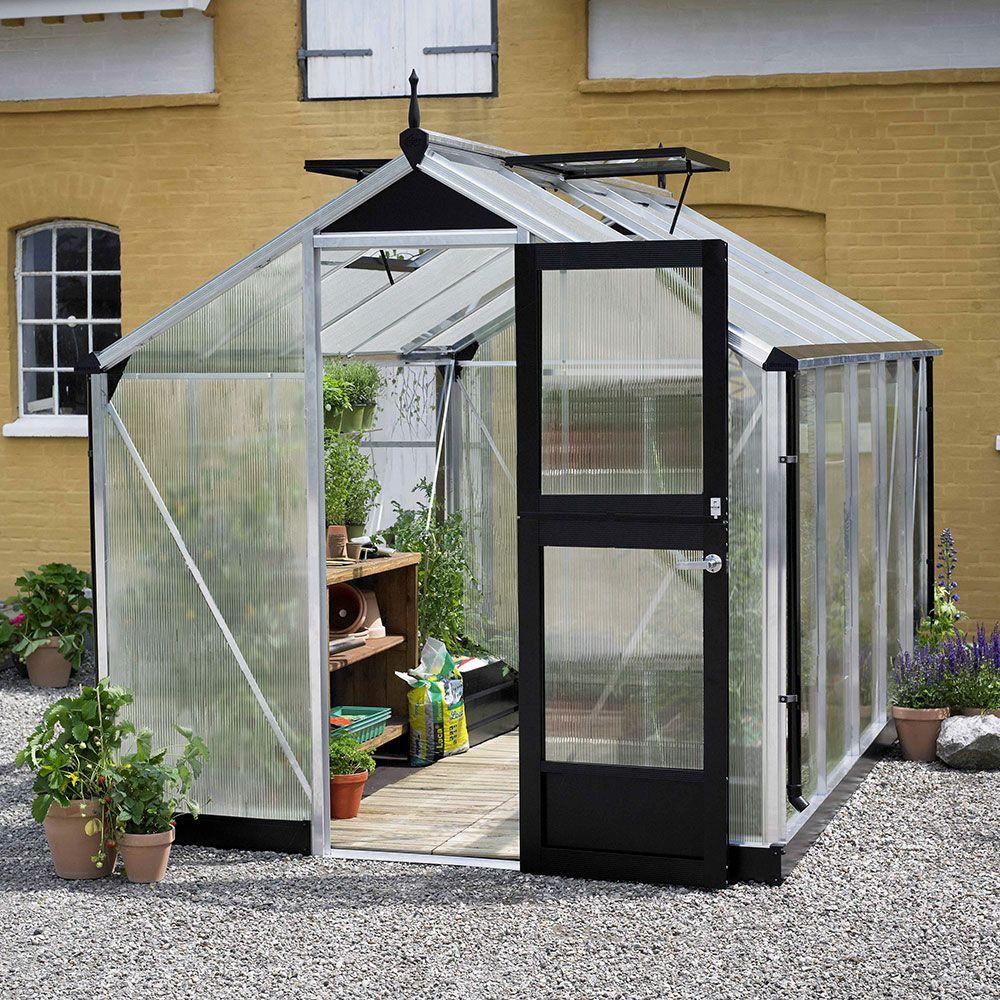 Serre polycarbonate Compact aluminium 8,2 m² + embase - Juliana