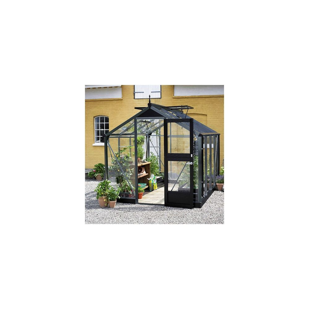 Serre de jardin - Serre en verre trempé Compact anthracite 6,6 m² + embase - Juliana - Serre de jardin GammVert