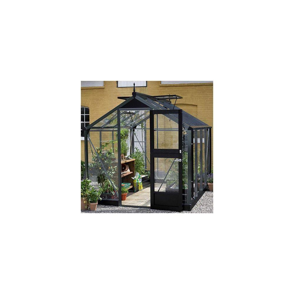 Serre de jardin - Serre en verre trempé Compact anthracite 8,20 m² + embase - Juliana - Serre de jardin GammVert