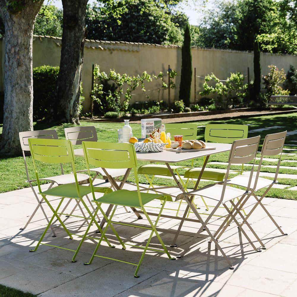 Salon de jardin fermob slim 8 pers en acier 157 x 37 x 150 cm gamm vert - Fermob salon de jardin ...