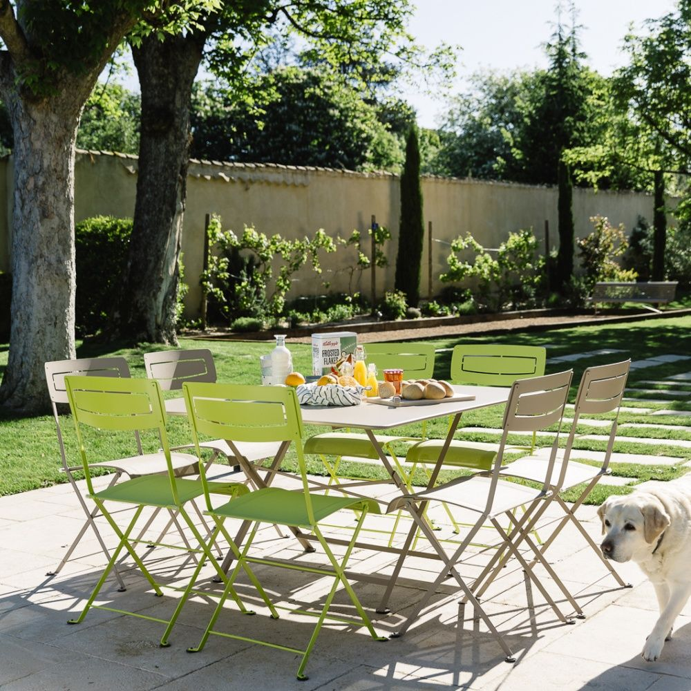 Salon de jardin Fermob : Table l128 L128 cm + 8 chaises 157 x 37 x ...