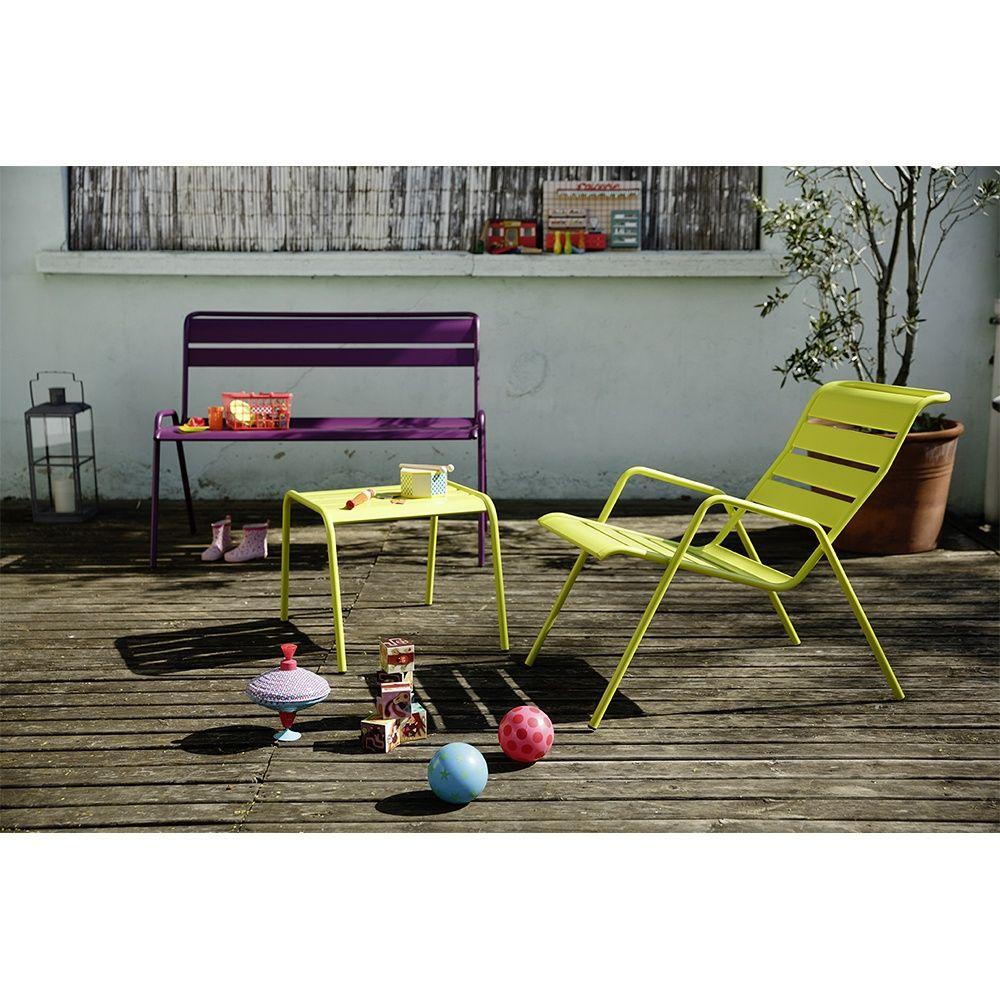 Salon de jardin Fermob Monceau : Table basse + 2 fauteuils + 1 banc