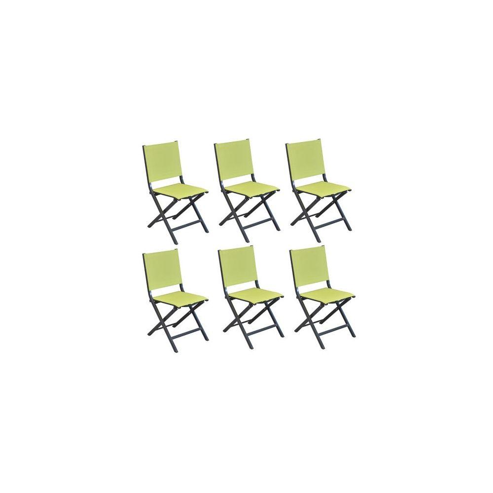 Lot de 6 Chaises pliantes Thema aluminium/textilène citron vert