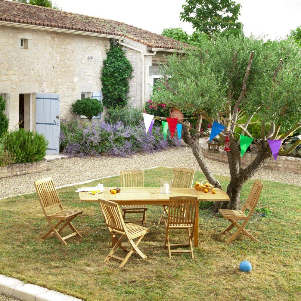 Table de jardin à allonge Grenoble Teck l140/230 L90 cm